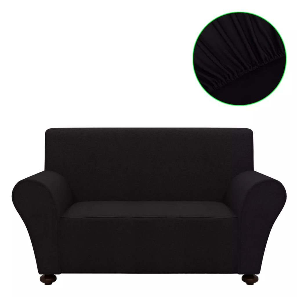 Black Jersey Stretch Couch Cover