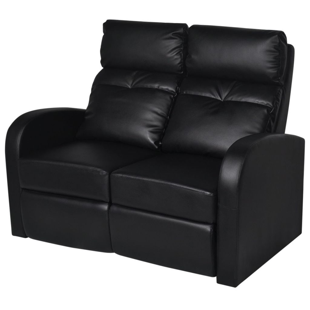 vidaXL 2 Seater Black Leather Sofa Home Theatre Seating Couch Lounge  Recliner