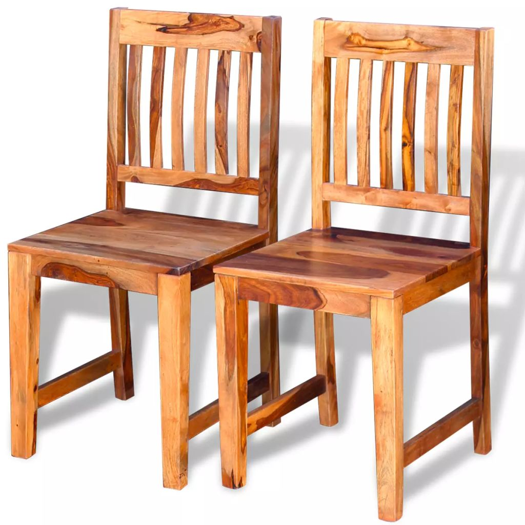 Buy Dining Chairs By Ryc Furniture Online: VidaXL 2x Solid Sheesham Wood Dining Chairs Kitchen