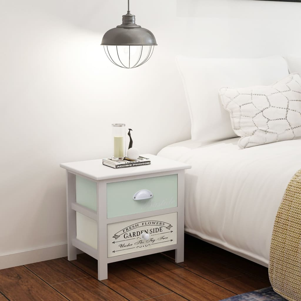 Vidaxl 2x French Provincial Bedside Table Drawer Cabinet Lamp Nightstand Wood