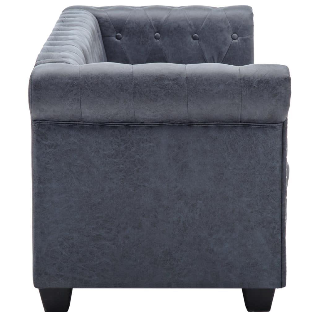 Vidaxl 3 Seater Chesterfield Sofa Curved Armrests Grey