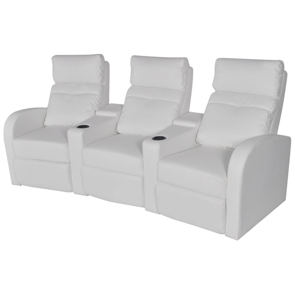 Vidaxl 3 Seater Pvc Leather Sofa Couch Home Theatre Cinema Lounge Recliner White
