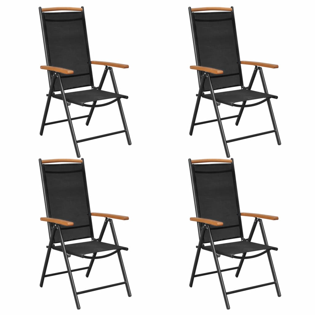 Vidaxl 4x Folding Garden Chairs Aluminium 58x65x109cm Black Outdoor