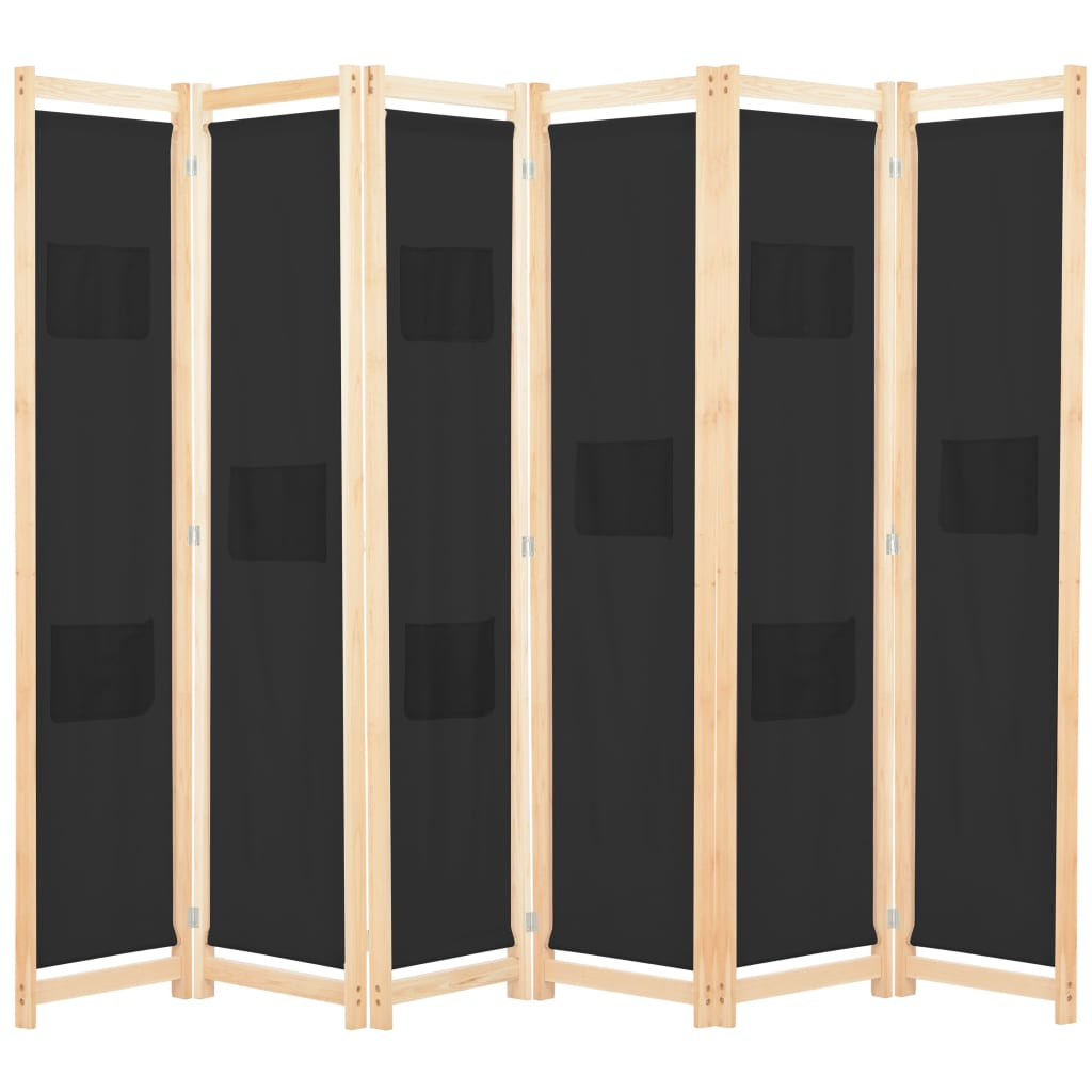 Miraculous Vidaxl 6 Panel Room Divider Black 240X170X4Cm Fabric Folding Screen Partition Download Free Architecture Designs Embacsunscenecom