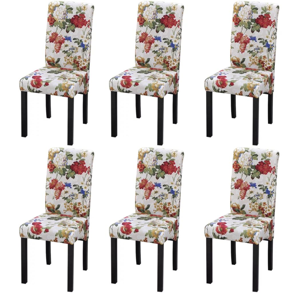 Dining Chair Sets Of 6: VidaXL 6x Dining Chairs Floral Design Wood Kitchen Living