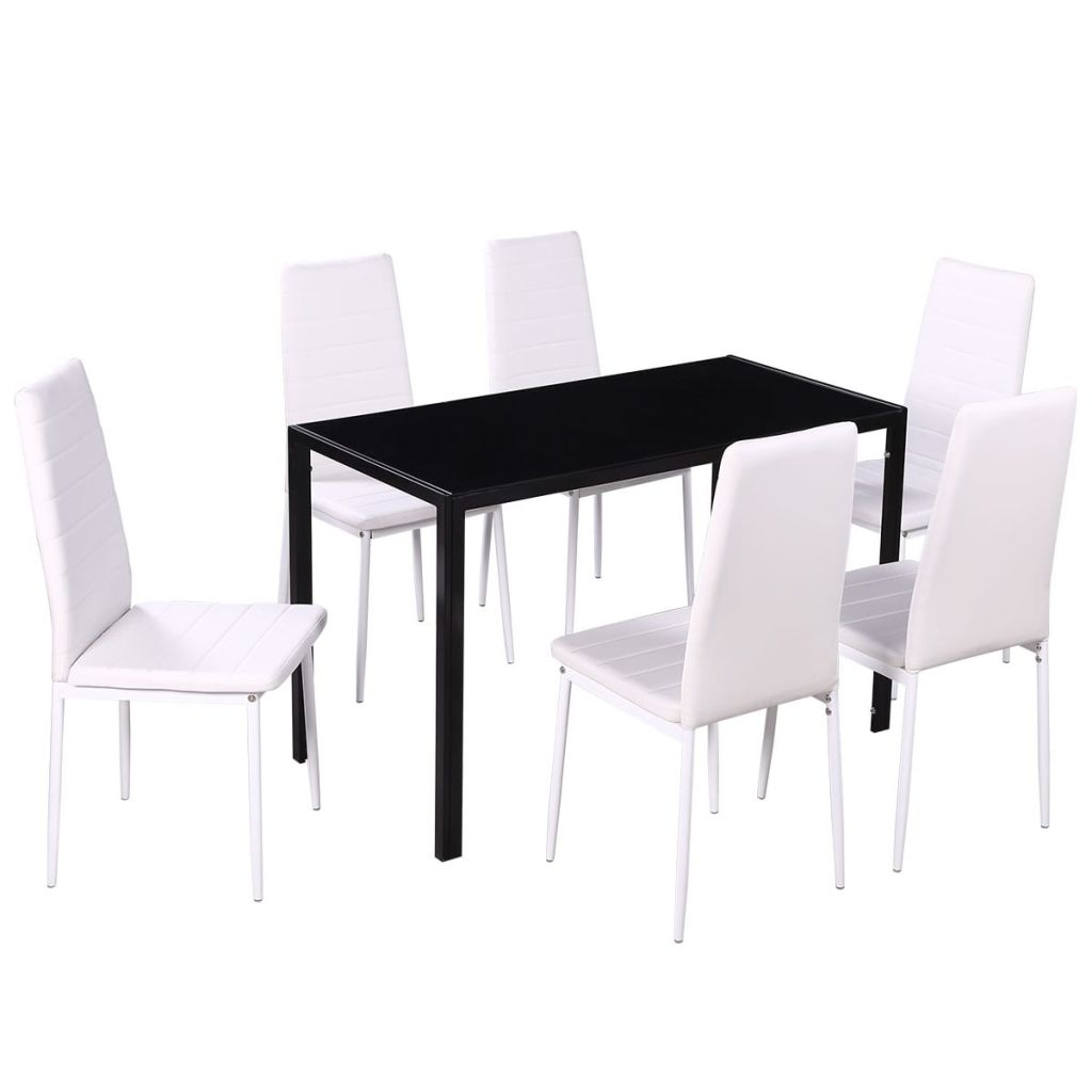 Buy Dining Chairs By Ryc Furniture Online: VidaXL 7pcs Dining Furniture Set Black Glass Top Table