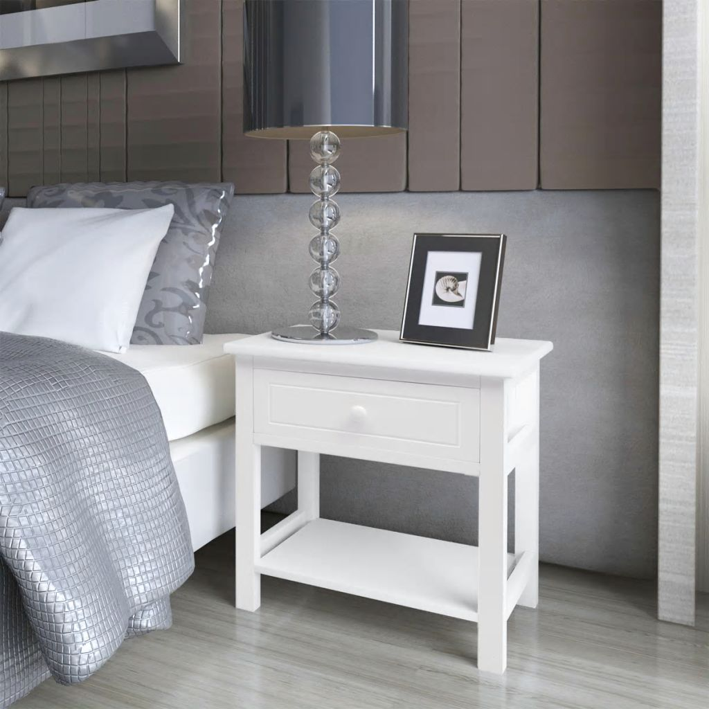 VidaXL Bedside Cabinet Wood White Bedroom Lamp Nightstand