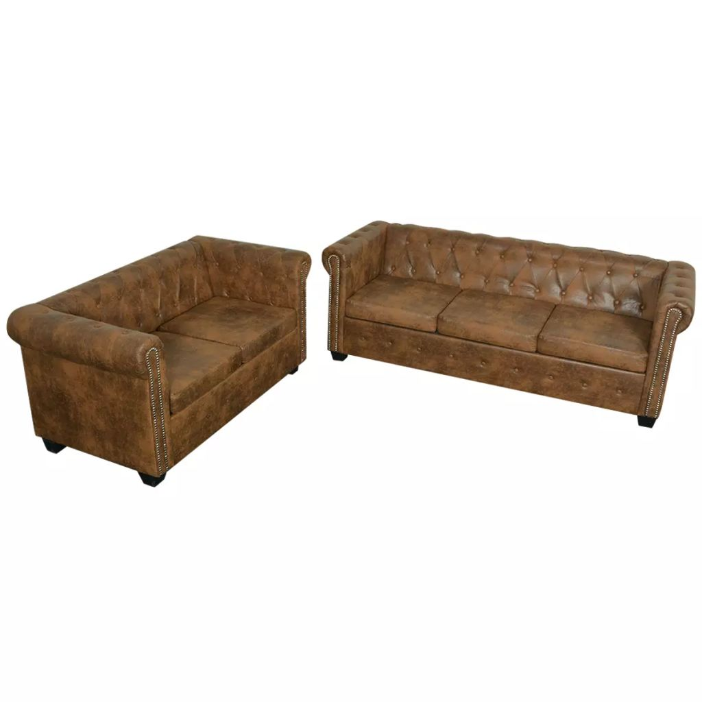 vidaXL Brown 2+3 Seater Chesterfield Sofa Suite Lounge Bed Couch ...