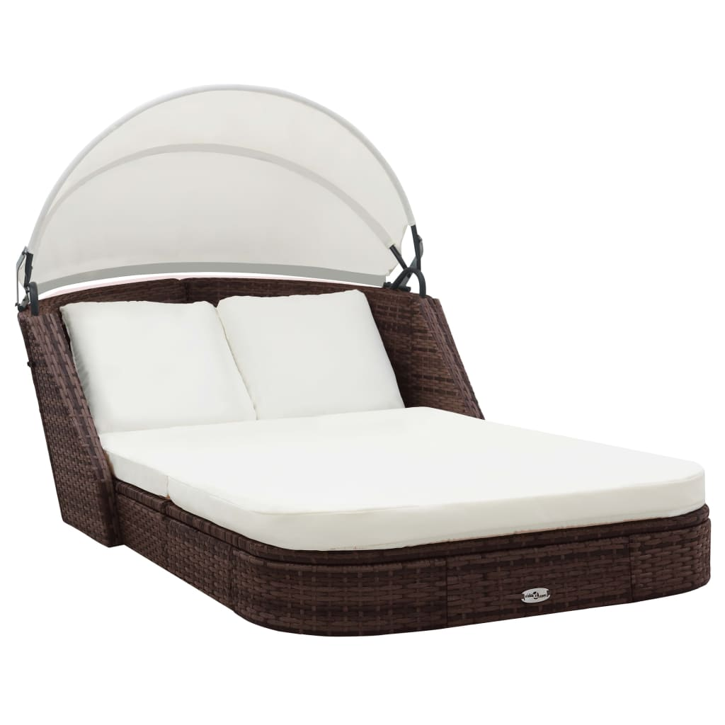 Outdoor Furniture Beds: VidaXL Sun Lounge Brown Wicker Rattan Outdoor Daybed