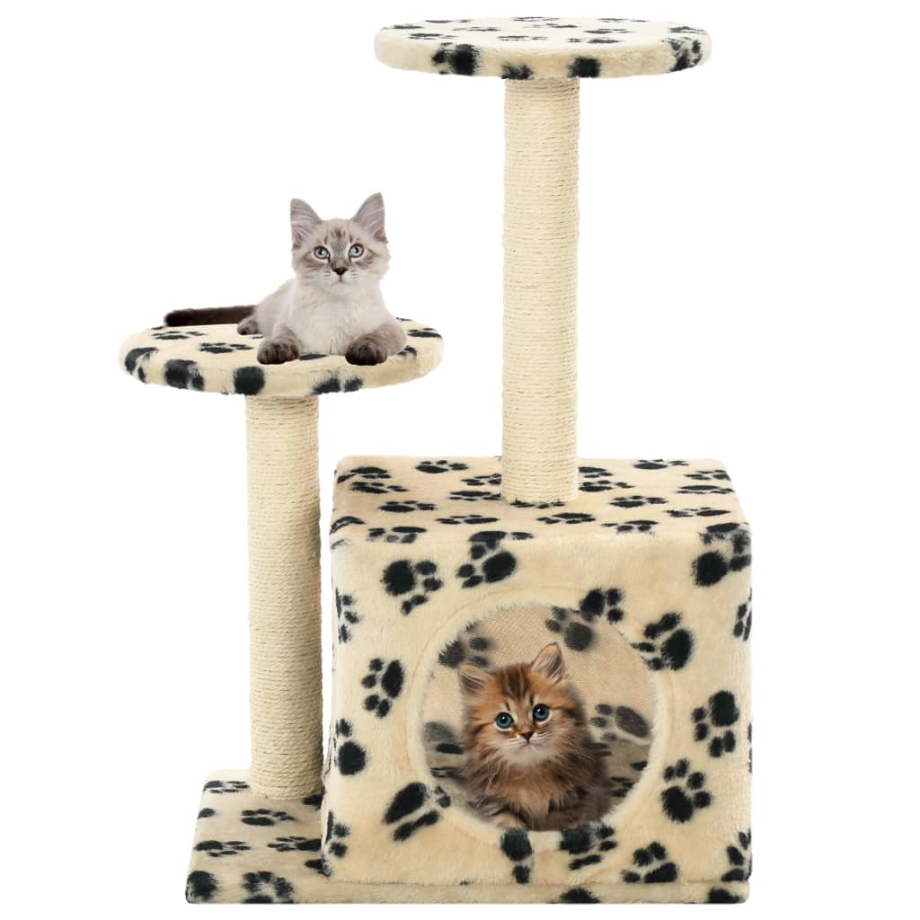 ed61f2faf254 h m s Remaining. vidaXL Cat Tree with Sisal Scratching Posts Beige Paw  Prints Scratcher Tower
