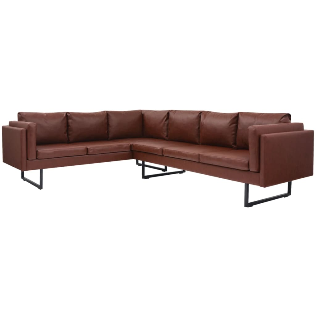 Comfortable Corner Sofa Ideas Perfect For Every Living: VidaXL Corner Sofa PVC Leather Brown Couch Lounge Suite