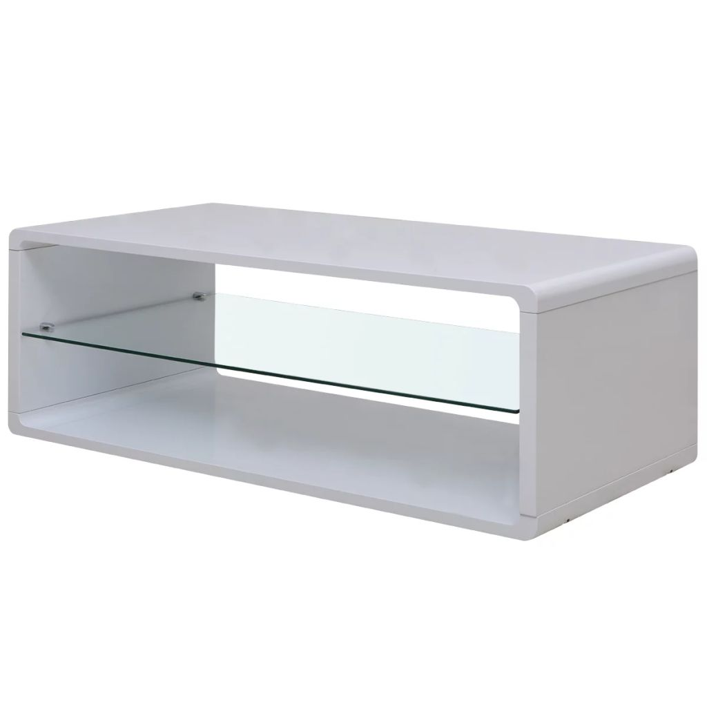 Vidaxl High Gloss Coffee Table White: VidaXL High Gloss Coffee Side Table Glass Shelf Living