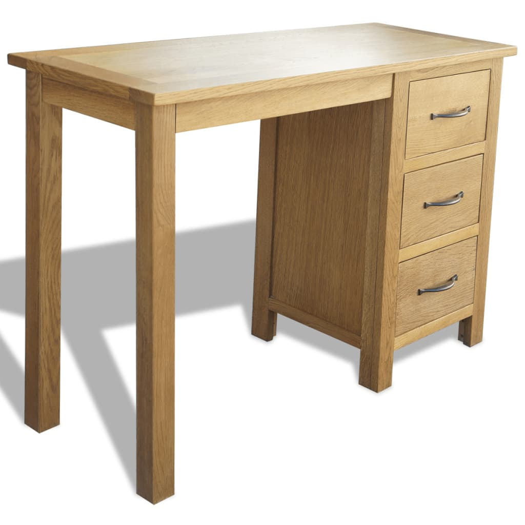 Bedroom Office Furniture: VidaXL Solid Oak Wood Desk With 3 Drawers Furniture
