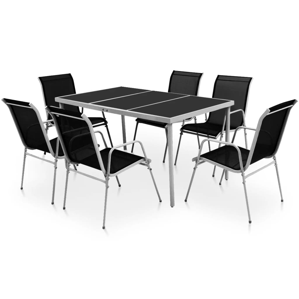 Buy Dining Chairs By Ryc Furniture Online: VidaXL Outdoor Dining Set 7 Piece Black Patio Furniture