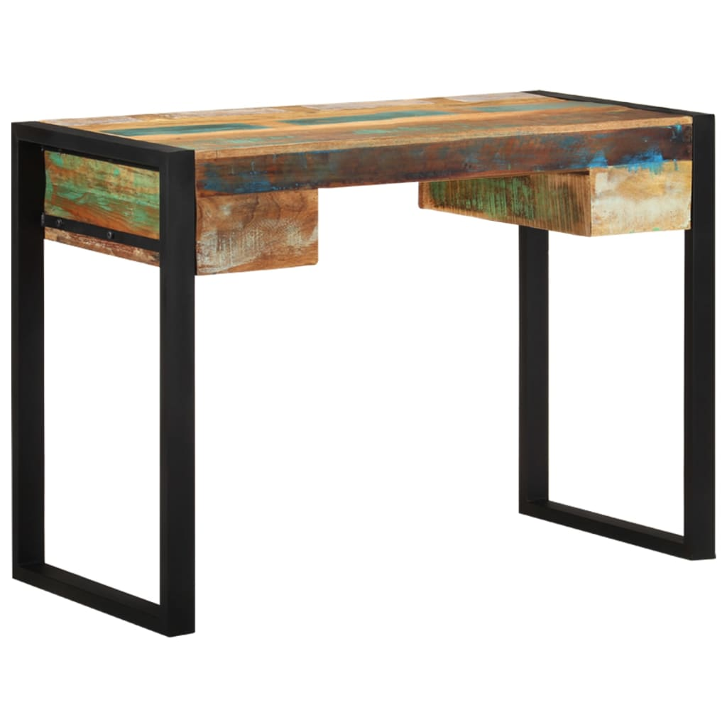 Vidaxl Recycled Timber Office Desk Steel Side Console Table Drawer Furniture