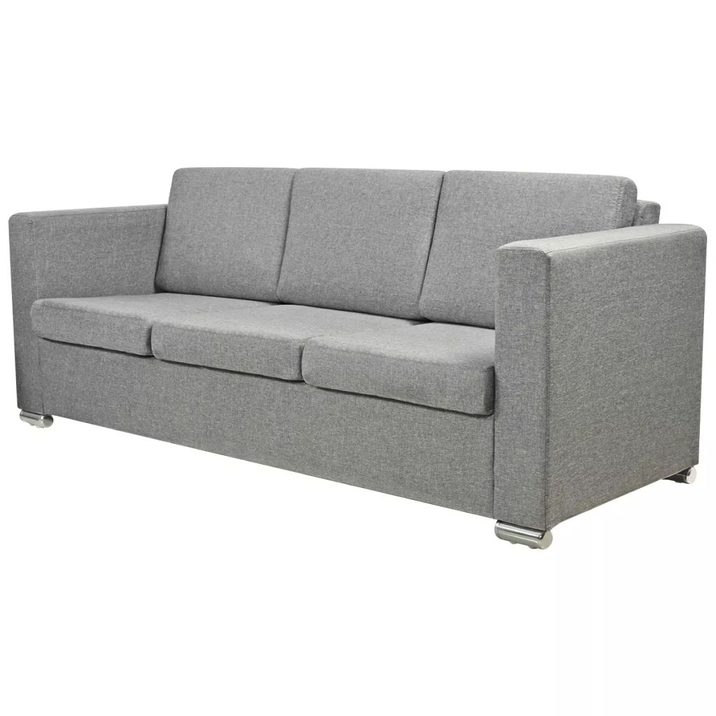 Vidaxl Sofa 3 Seater Fabric Light Grey Lounge Couch Suite Home Office Modern