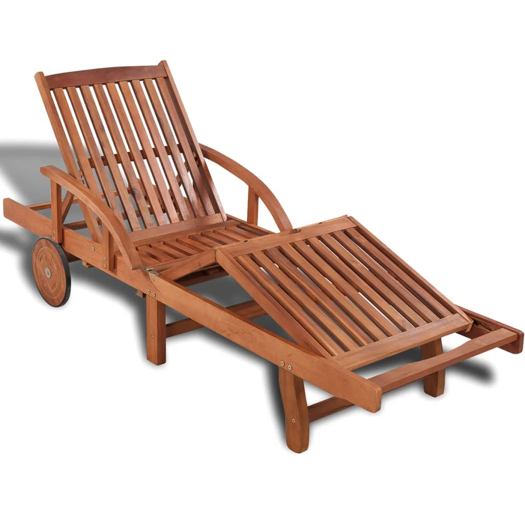 Solid Acacia Wood 2 Seat Garden Storage Bench: VidaXL Solid Acacia Wood Sunlounger 200x68x83cm Outdoor