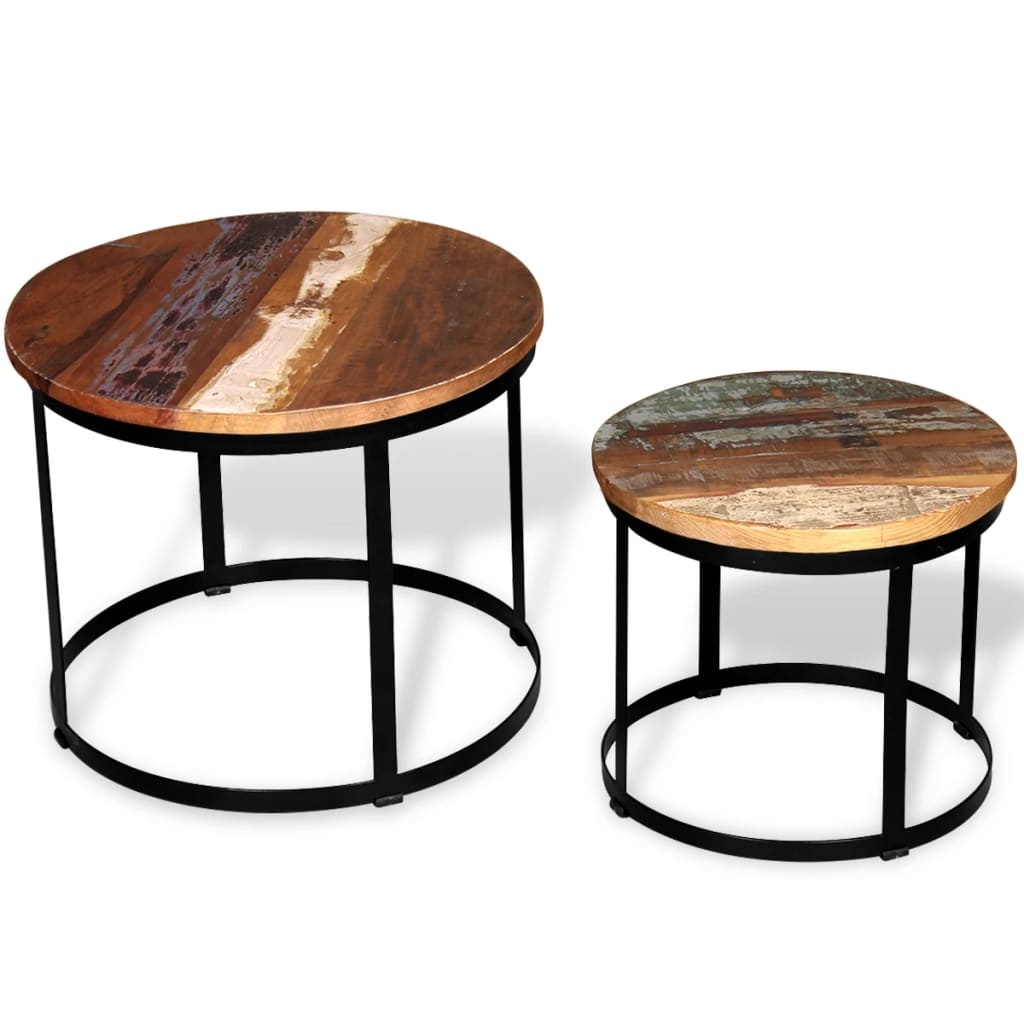 Vidaxl Solid Reclaimed Wood Coffee Table Set 2 Piece Round 4050cm