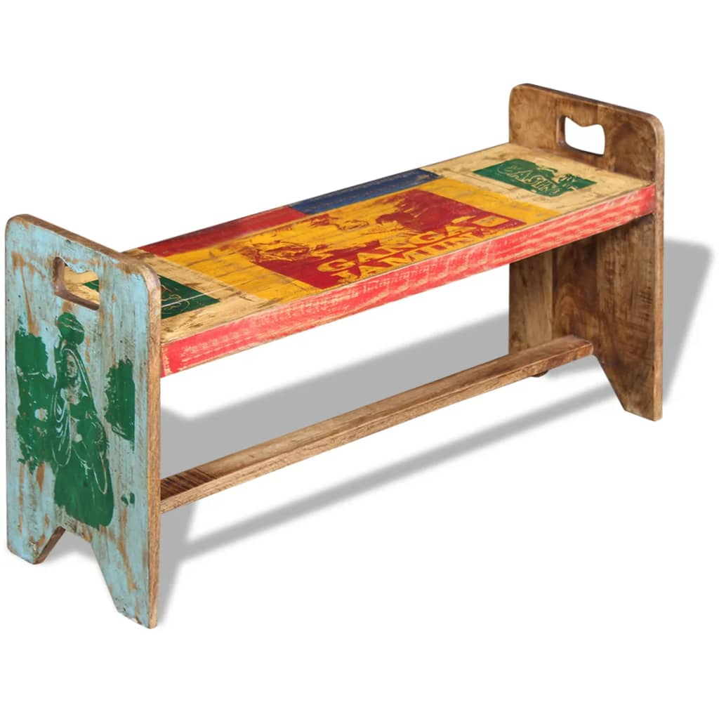 Buy Vintage Furniture: VidaXL Solid Recycled Timber Reclaimed Wood Bench Entryway