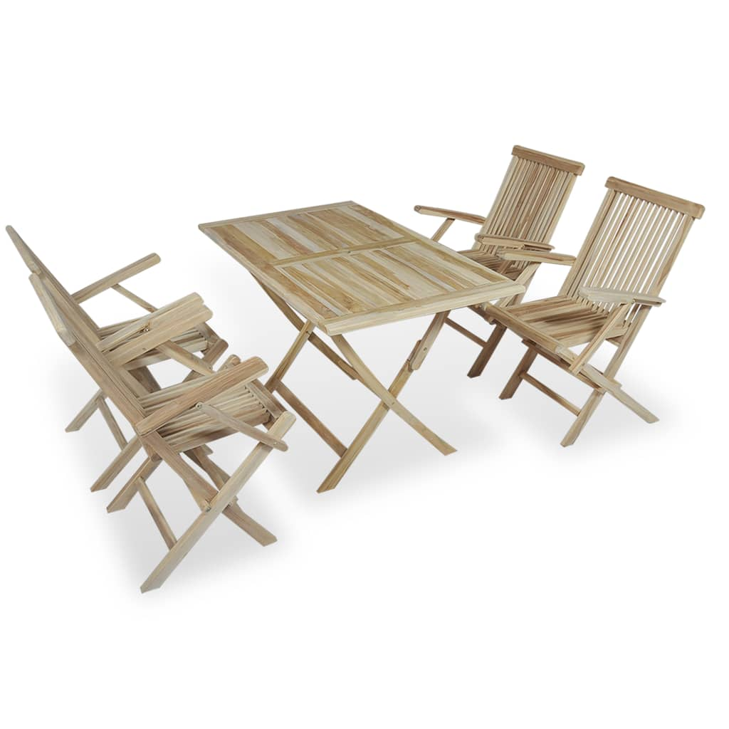 Vidaxl Coffee Table Teak Resin: VidaXL Teak 5PC Outdoor Furniture Bistro Set Folding