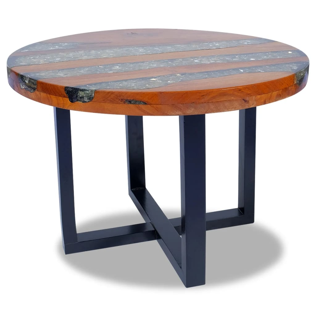 Vidaxl Coffee Table Teak Resin: VidaXL Teak Resin Coffee Side Table Mango Wood Base Round