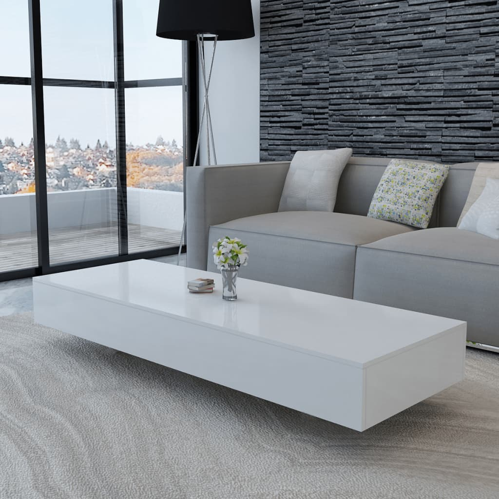 Vidaxl Coffee Table High Gloss White 115x55x31cm Living Room