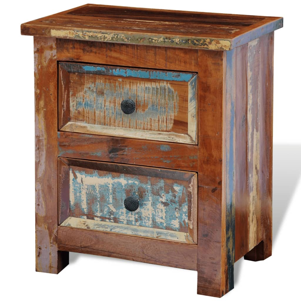 Groovy Vidaxl Solid Reclaimed Wood Nightstand With 2 Drawers Cabinet Side End Table Download Free Architecture Designs Terstmadebymaigaardcom