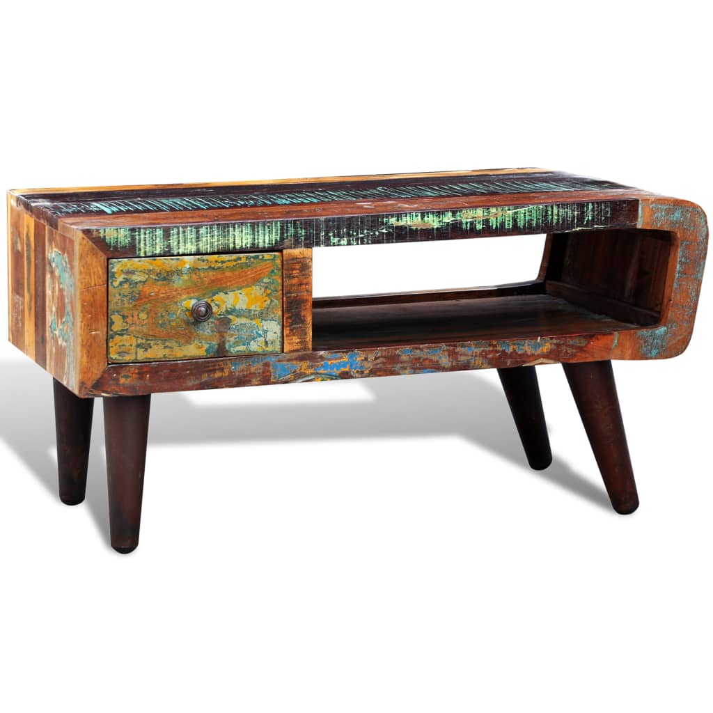 Curved Edge Glass Coffee Table: Reclaimed Solid Wood Recycled Coffee Table Vintage Side