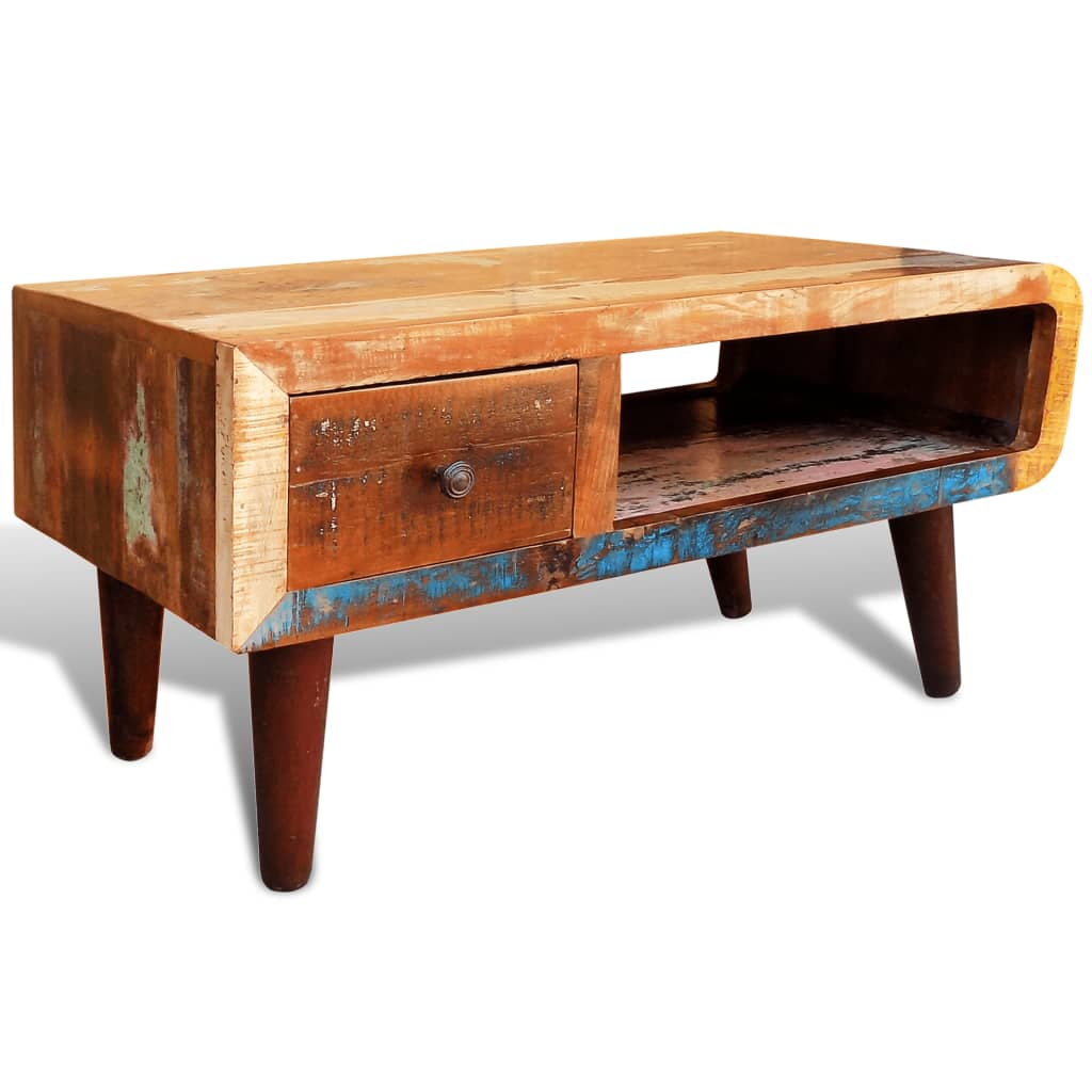 Solid Wood Curved Coffee Table: Reclaimed Solid Wood Recycled Coffee Table Vintage Side