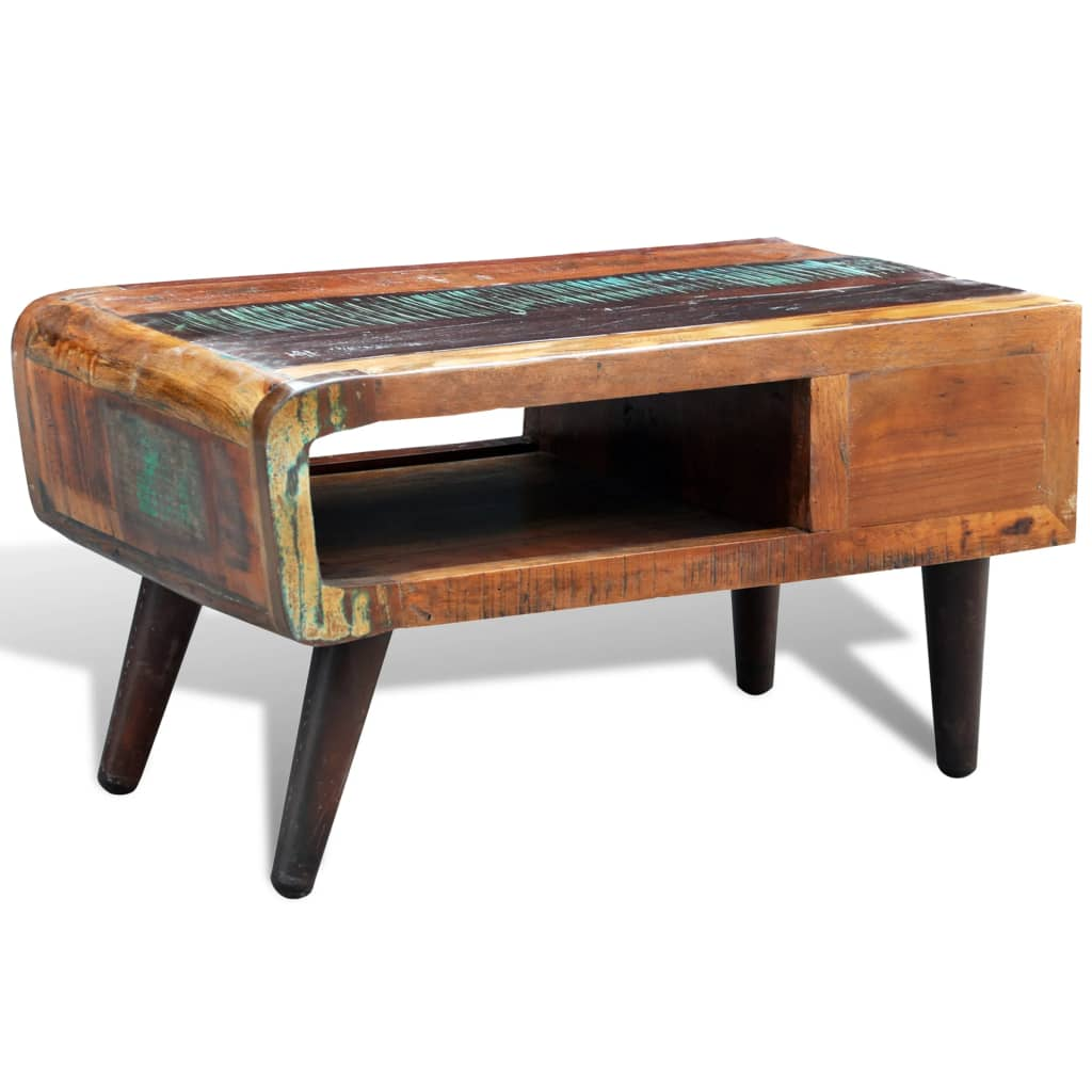 Reclaimed Solid Wood Recycled Coffee Table Vintage Side