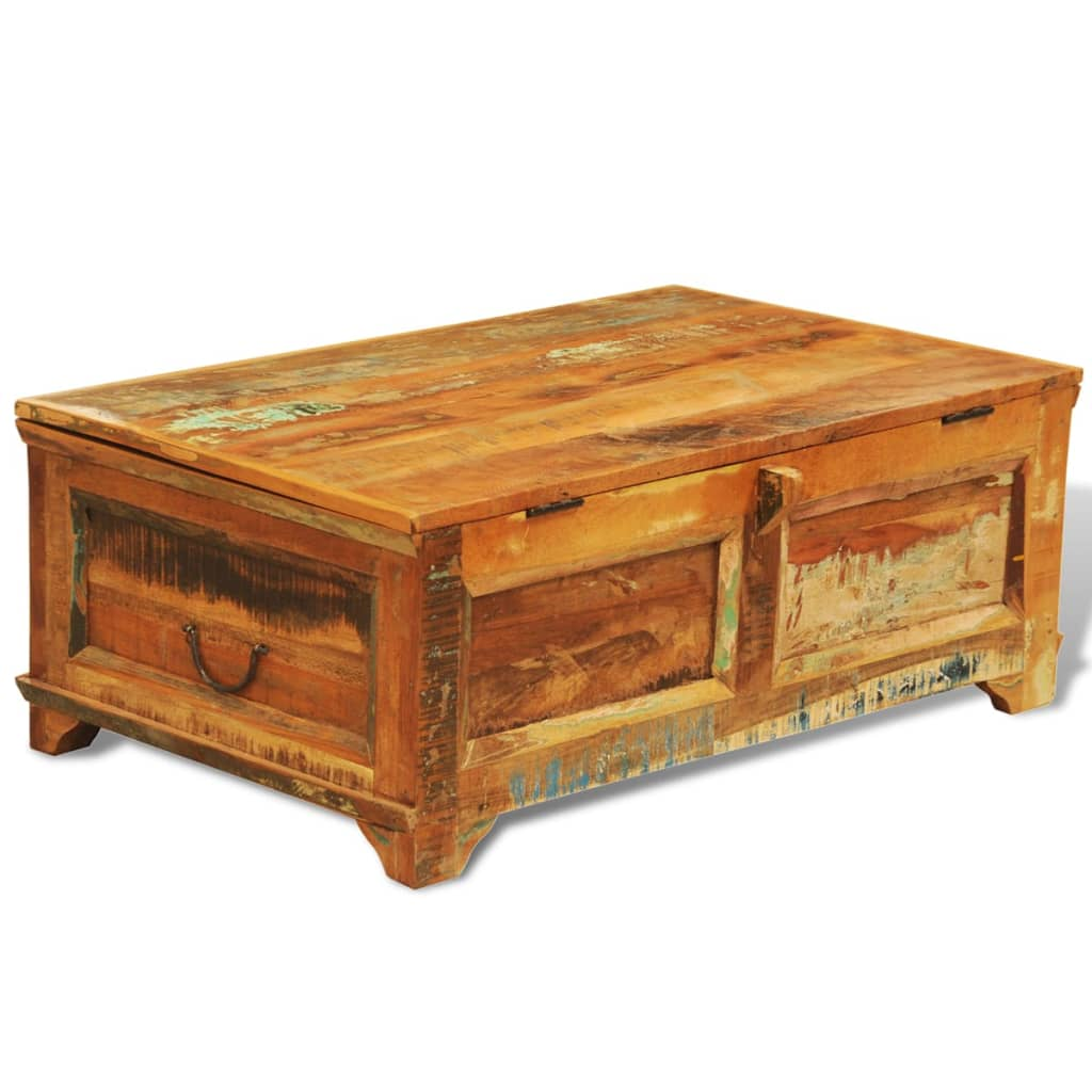 Reclaimed Recycled Solid Wood Coffee Table Cabinet Storage Vintage