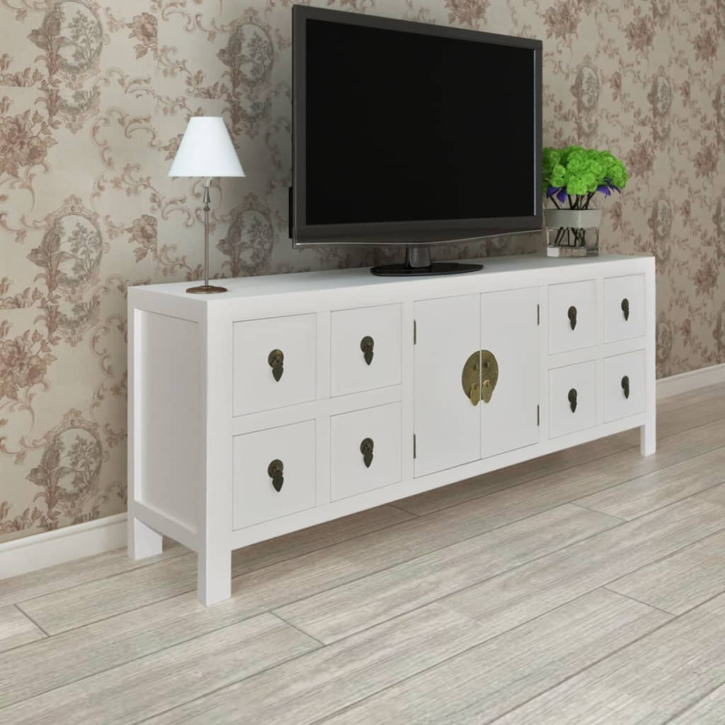 White Buffet Sideboard Storage Cabinet TV Cabinet Table ...