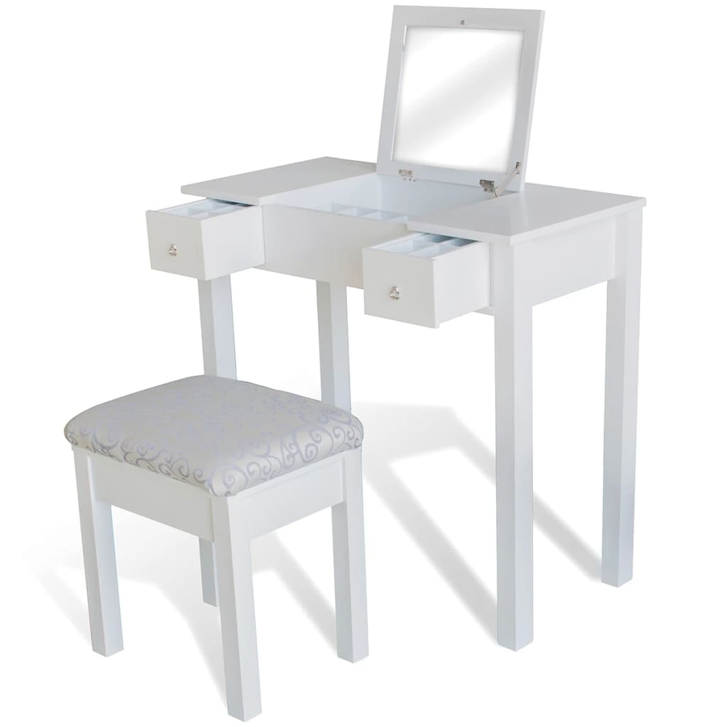 Vidaxl Dressing Table With Stool And 1 Flip Up Mirror White
