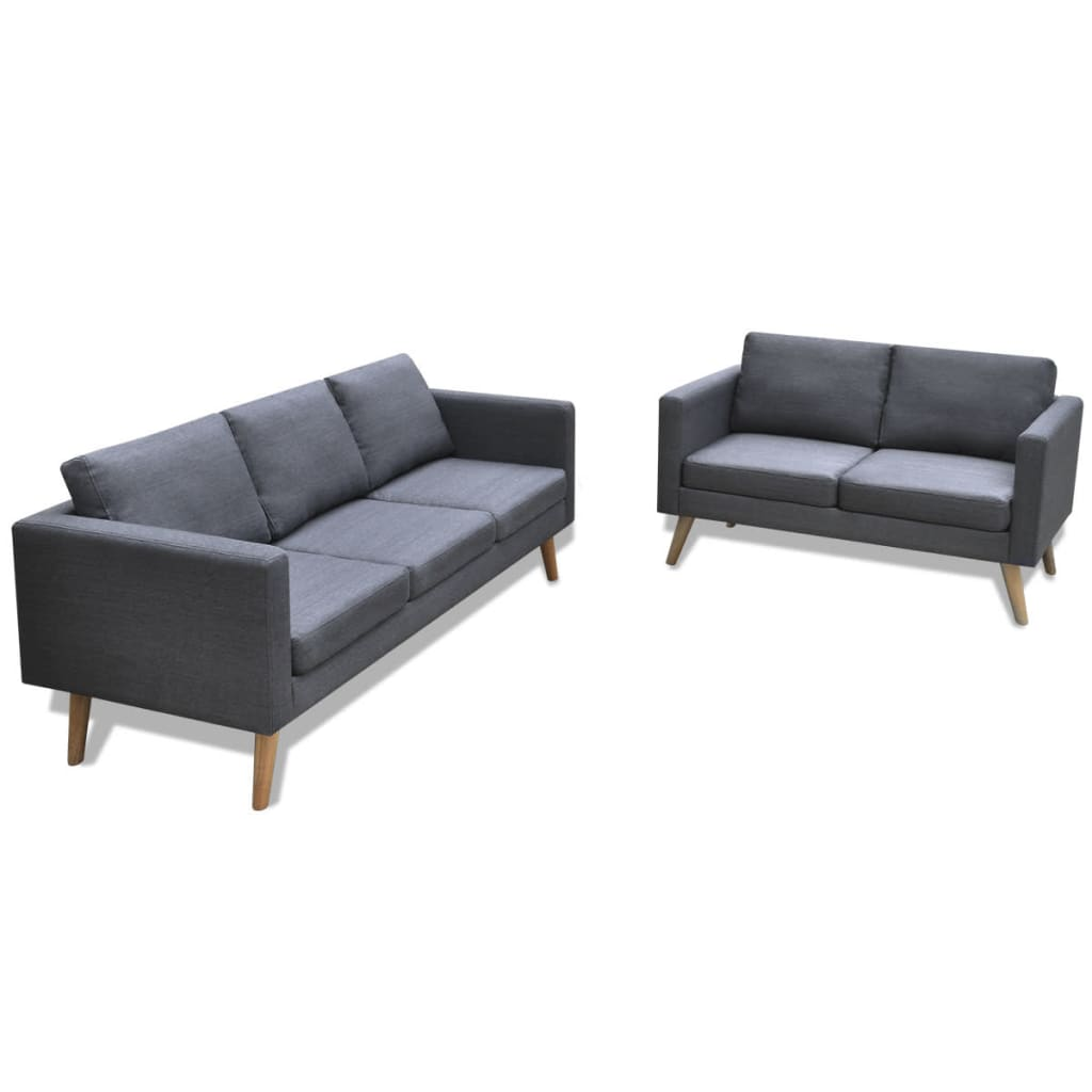 Dark Grey 3 2 Seater Modern Fabric Sofa Couch Lounge Suite