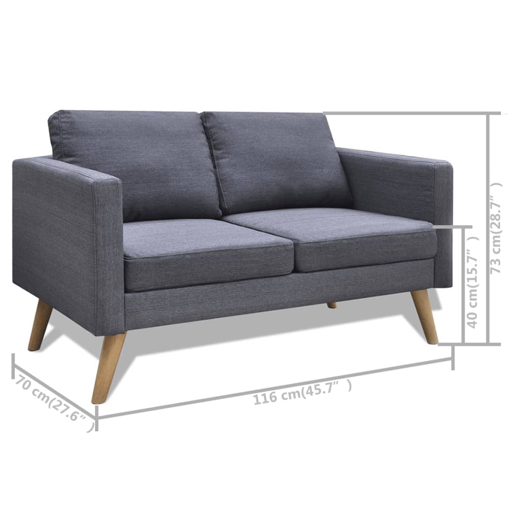 Grey Lounge Suite: Dark Grey 3 + 2 Seater Modern Fabric Sofa Couch Lounge