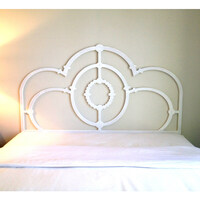 Sophia Queen Cast Iron Style Wooden Bedhead White