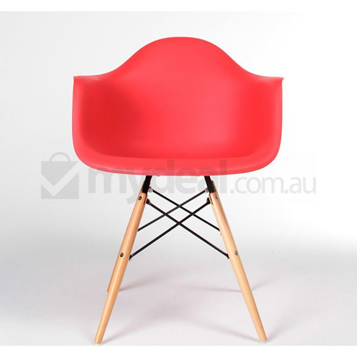 2x replica eames daw plastic dining chairs in red buy for Eames plastic armchair replica