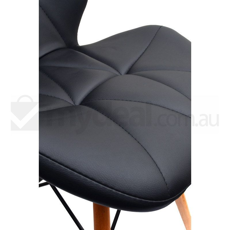 2x Modena Eames Inspired PU Dining Chairs In Black Buy