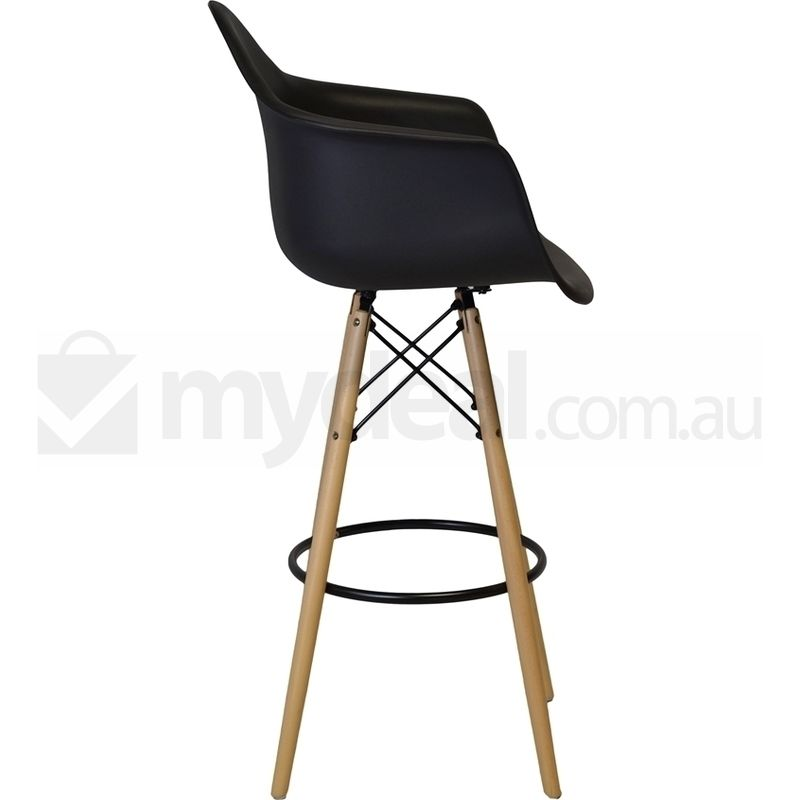 2x replica eames daw plastic bar stools in black buy for Eames plastic armchair daw replica