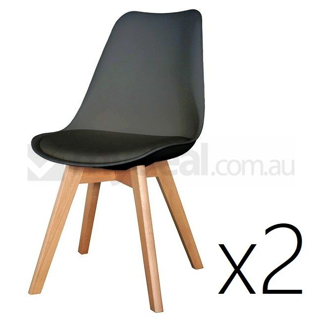2x replica eames plastic dining chairs in black buy sets for Eames plastic chair replica