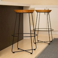 Abe Metal Modern Industrial Bar Stool in Black