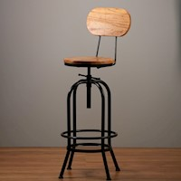 Ari Modern Industrial Bar Stool w/ Backrest - Black