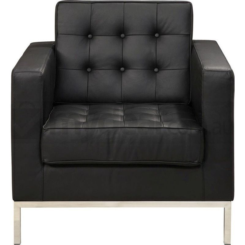 Replica Florence Knoll Leather Armchair Black Buy Armchairs