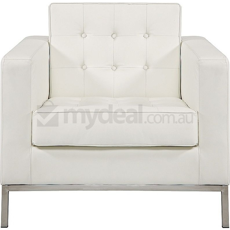 Replica Florence Knoll Leather Sofa Lounge In White