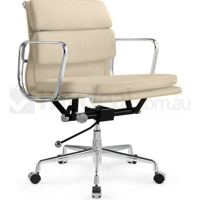 Eames Inspired Low Back Leather Office Chair Cream