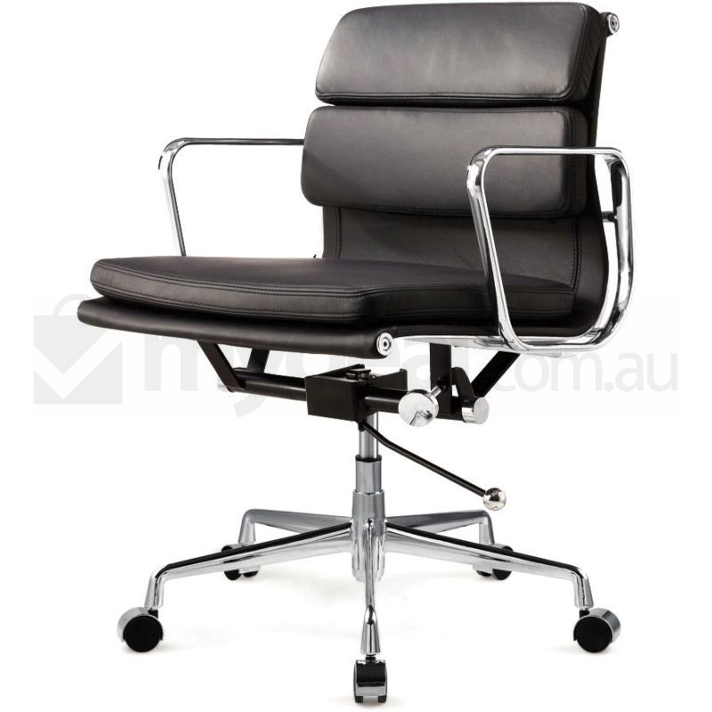 Eames Inspired Low Back Leather Office Chair Black