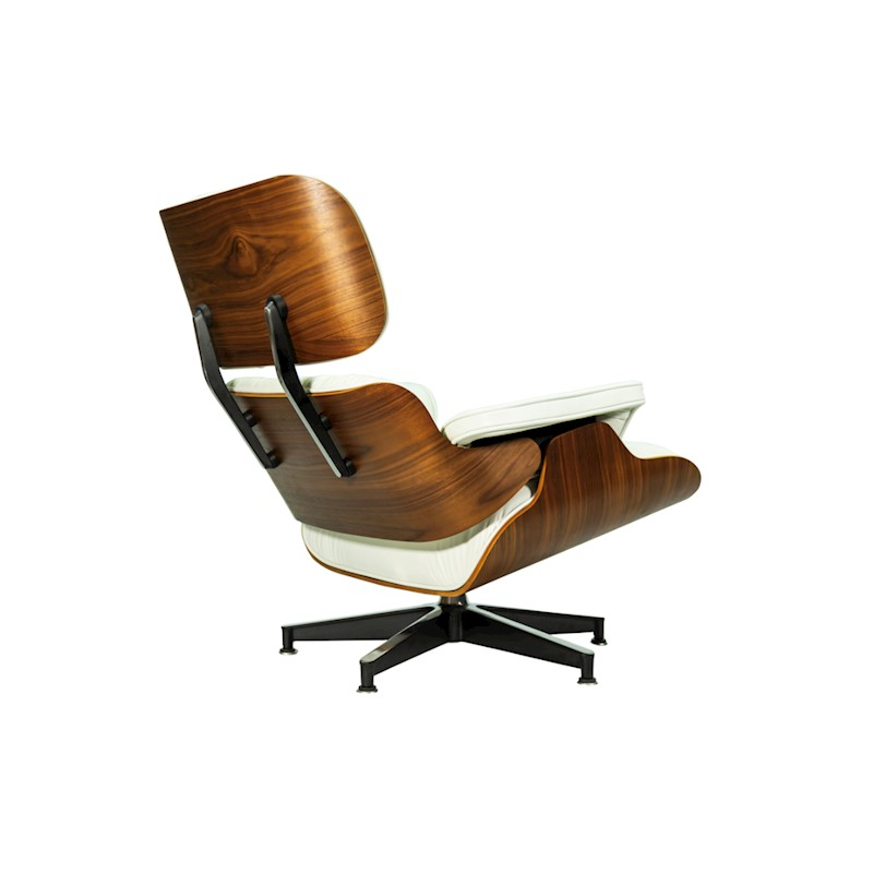 Walnut Eames Lounge Ottoman White Leather Replica Aniline Chairamp; wPN8vymn0O