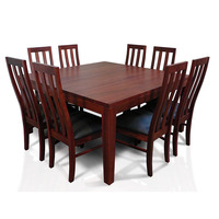 Square Wooden Dining Table Set w/ 8 Chairs 1.5m