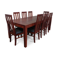 Jarrah Wooden Dining Table Set w/ 8 Chairs 2.2m