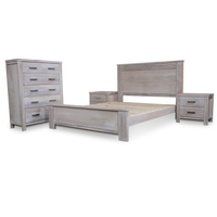 4pc Avalon Ash Wooden King Bedroom Furniture Set